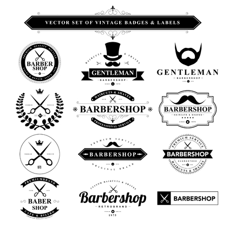 barber scissors: Set of black vintage badges and labels.Vector eps10 Illustration