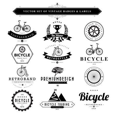 bicycle: Set de badges vintage noir et labels.Vector eps10