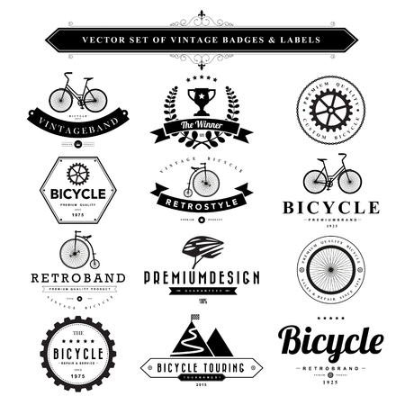 Set of black vintage badges and labels.Vector eps10 Illustration