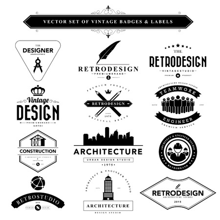 designer: Set of black vintage badges and labels.Vector eps10 Illustration
