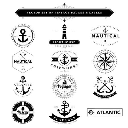 pacífico: Jogo de emblemas do vintage preto e labels.Vector eps10
