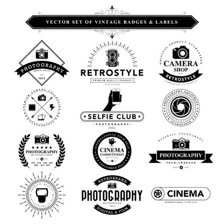 macchina fotografica: Insieme dei distintivi e nero d'epoca labels.Vector eps10
