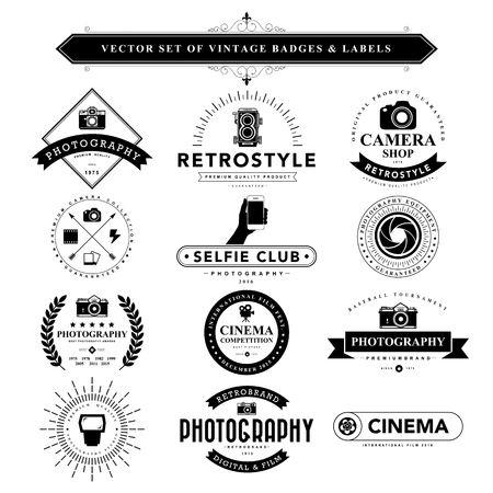 camera: Set of black vintage badges and labels.Vector eps10 Illustration