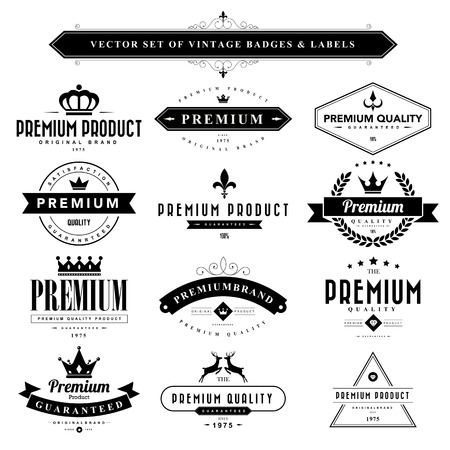animal frame: Set of black vintage badges and labels.Vector eps10 Illustration