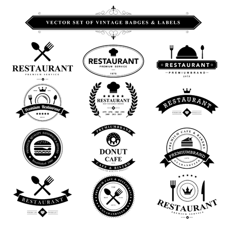 étel: Állítsa be a fekete vintage jelvények és labels.Vector eps10