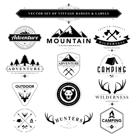 adventures: Set of black vintage badges and labels.Vector eps10 Illustration