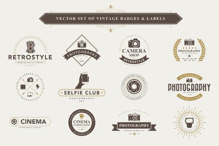 Set of vintage camera badges and labels