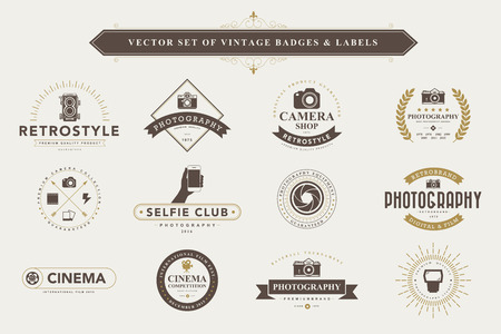 Set of vintage camera badges and labels