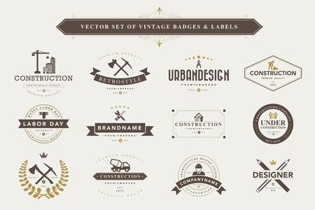 elemento: Insieme dei distintivi di design d'epoca ed etichette