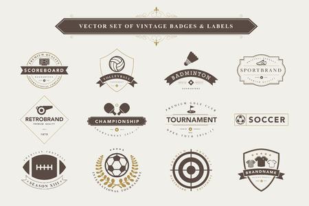 table tennis: Set of vintage  sport badges and labels