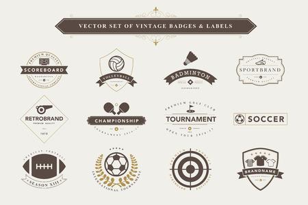 tischtennis: Set Vintage Sport-Abzeichen und Etiketten