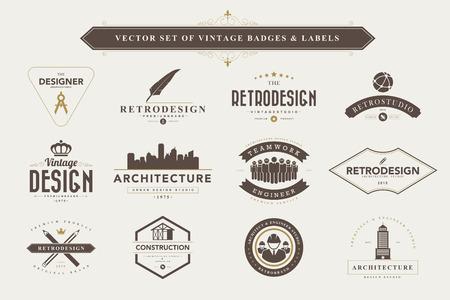 arquitecto: Conjunto de insignias de dise�o vintage y etiquetas Vectores
