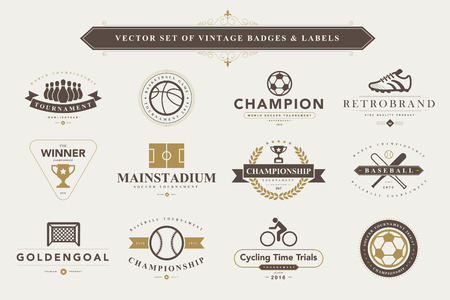 ballon foot: Set de badges et d'�tiquettes de sport Vintage Illustration