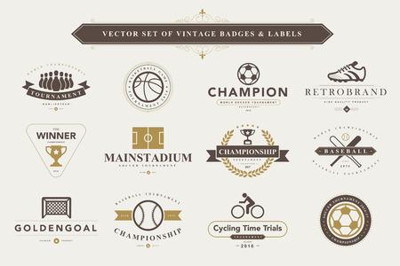 ballon foot: Set de badges et d'étiquettes de sport Vintage Illustration