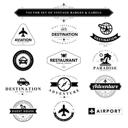 Set of vintage travel badges and labels