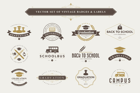 Set of vintage education badges and labels Çizim