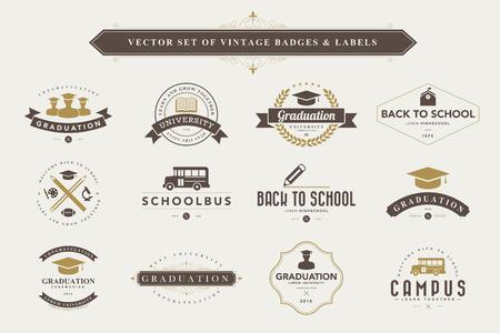 Set van vintage onderwijs, badges en labels