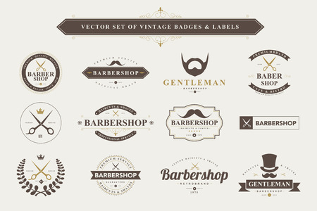 barber scissors: Set of vintage  barber badges and labels