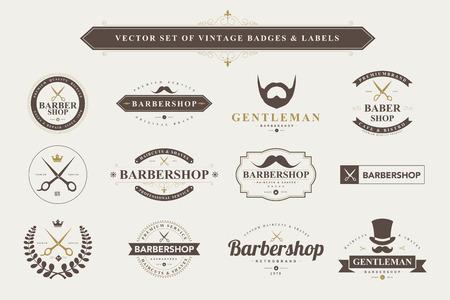 scissors: Set of vintage  barber badges and labels