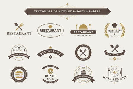 Set of vintage  food badges and labels Çizim