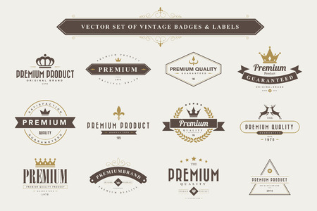 Set of vintage  badges and labels Çizim