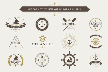 nautical: Set of vintage  nautical badges and labels
