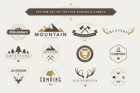Set of vintage  camping badges and labels