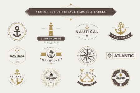 retro badge: Set of vintage  nautical badges and labels
