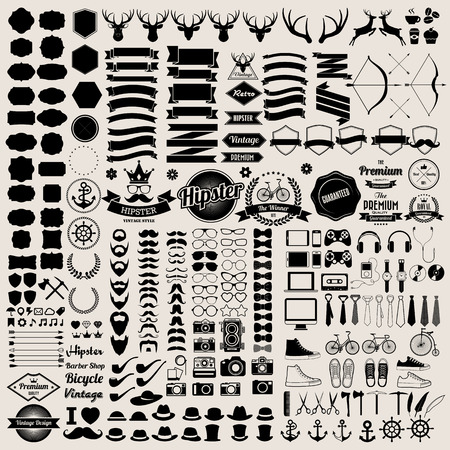 anteojos de sol: Infografías estilo inconformista elementos e iconos establecen para el diseño retro. Ilustración eps10 Vectores