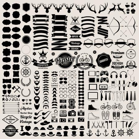telefono antico: Infografica stile Hipster elementi e set di icone per il design retr�. Illustrazione eps10 Vettoriali