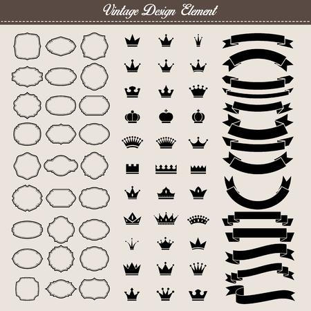 contorno: Conjunto de elementos de la vendimia, marco en blanco vintage, corona y la cinta. Ilustración eps10