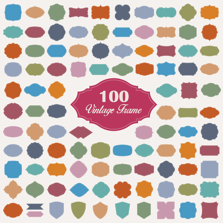 badge icon: Set of 100 colorful vintage frame.Vector