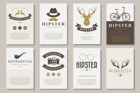 typography: Set of brochures in vintage hipster style .Vector eps10 Illustration