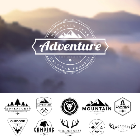 montagna: Set di badge d'epoca campeggio e labels.Vector eps 10 Vettoriali