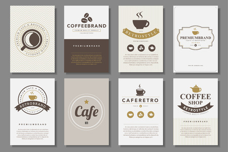 symbol icon: Set of coffee brochures in vintage style .Vector eps10