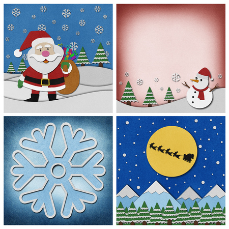 saint nicholas: Collection of Christmas recycled papercraft background.