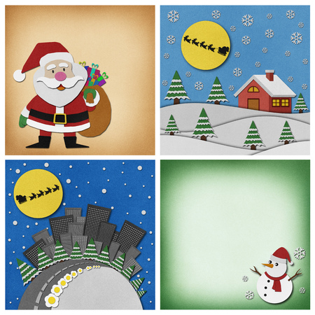 recycled: Collection of Christmas recycled papercraft background.