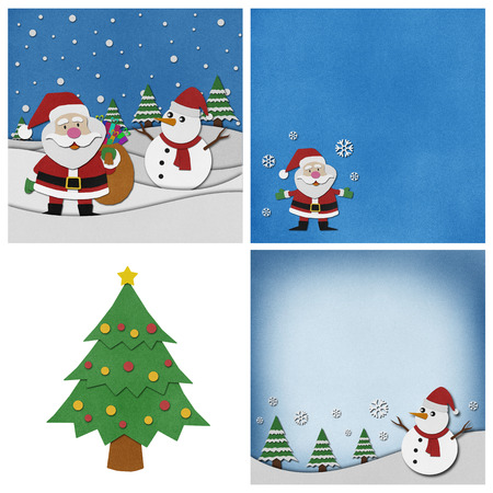Collection of Christmas recycled papercraft background.