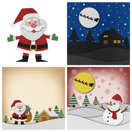 klaus: Collection of Christmas recycled papercraft background.