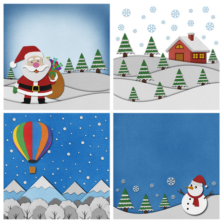 paper art: Collection of Christmas recycled papercraft background.