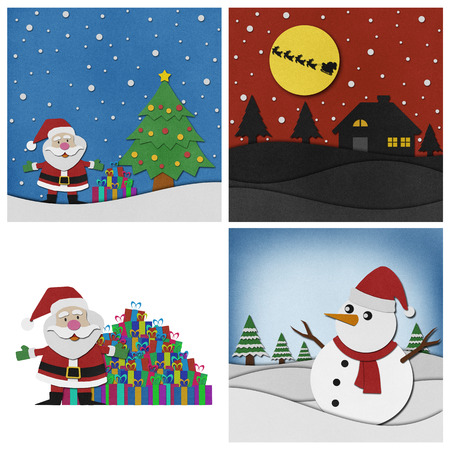 papercraft: Collection of Christmas recycled papercraft background.