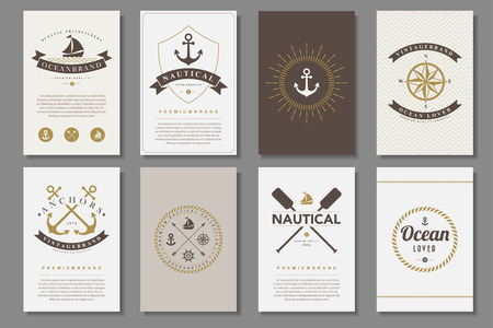 Set of  nautical brochures in vintage style .Vector eps10 Çizim