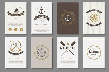 Set van nautische brochures in vintage stijl .Vector eps10 Stock Illustratie