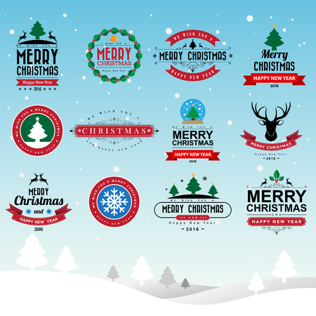christmas present: Merry Christmas and Happy New Year typographic background,Illustration eps10