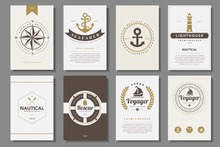 icons set: Set of  nautical brochures in vintage style .Vector Illustration
