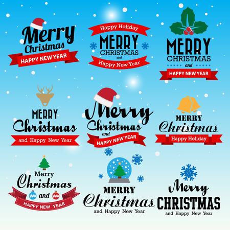 blue christmas background: Merry Christmas and Happy New Year typographic background,Illustration