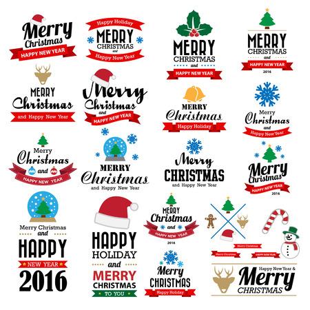 Vrolijk Kerstfeest en Gelukkig Nieuwjaar typografische achtergrond, Illustratie