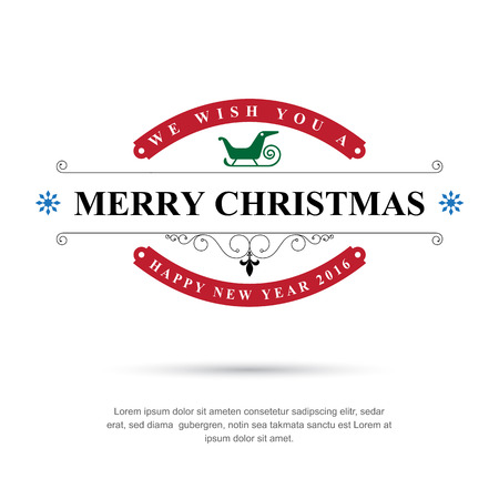 Merry Christmas and Happy New Year typographic background,Vector eps10  イラスト・ベクター素材