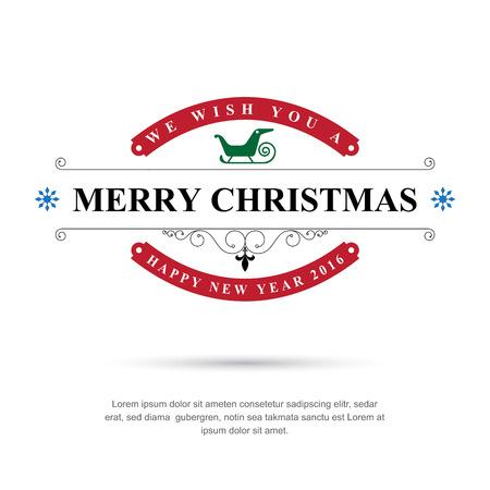 Vrolijk Kerstfeest en Gelukkig Nieuwjaar typografische achtergrond, Vector eps10
