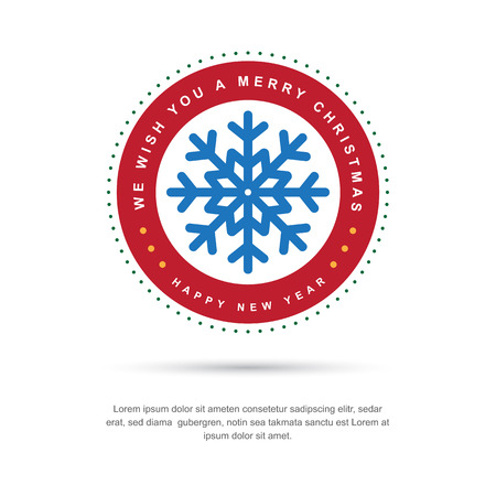 snow crystals: Merry Christmas and Happy New Year typographic background,Vector